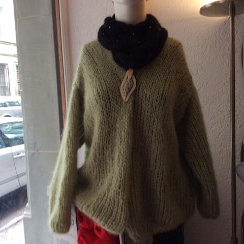 Veste mohair et soie vert - Aiguilles à Malices - Laine - Fribourg