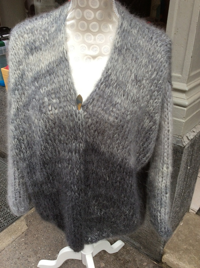 Veste mohair et soie gris - Aiguilles à Malices - Laine - Fribourg